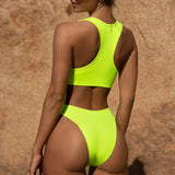 Sporty High Leg Racerback Brazilian Two Piece Bikini Swimsuit