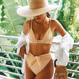 Stripe High Waist High Cut Slide Triangle Brazilian Two Piece Bikini Swimsuit