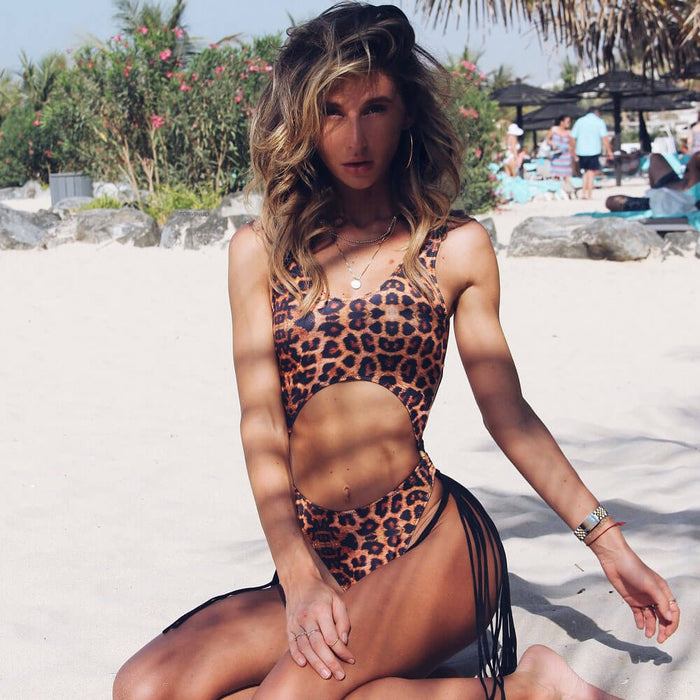 Tassel High Leg Leopard Cutout Brazilian One Piece Swimsuit