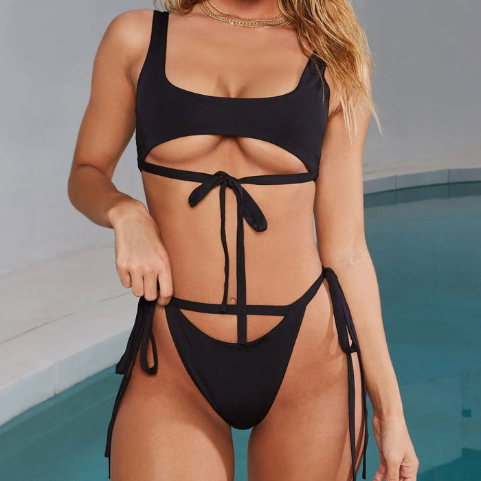 Tie Straps High Leg Brazilian Two Piece Bikini Swimsuit