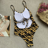 Tiger Striped High Leg Low Back Brazilian One Piece Swimsuit