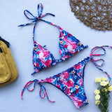 Tropical Leaf Tie Side String Slide Triangle Brazilian Two Piece Bikini Swimsuit