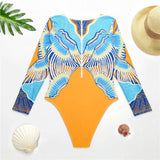 Tropical Pattern Rash Guard One Piece Swimsuit