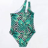 Tropical Print Cutout One Shoulder Brazilian One Piece Swimsuit