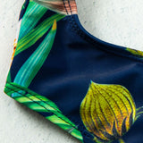 Tropical Print High Cut Front Tie Brazilian One Piece Swimsuit