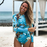 Tropical Print Long Sleeve High Neck Rash Guard One Piece Swimsuit