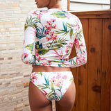 Tropical Print Long Sleeve Rash Guard Two Piece Swimsuit