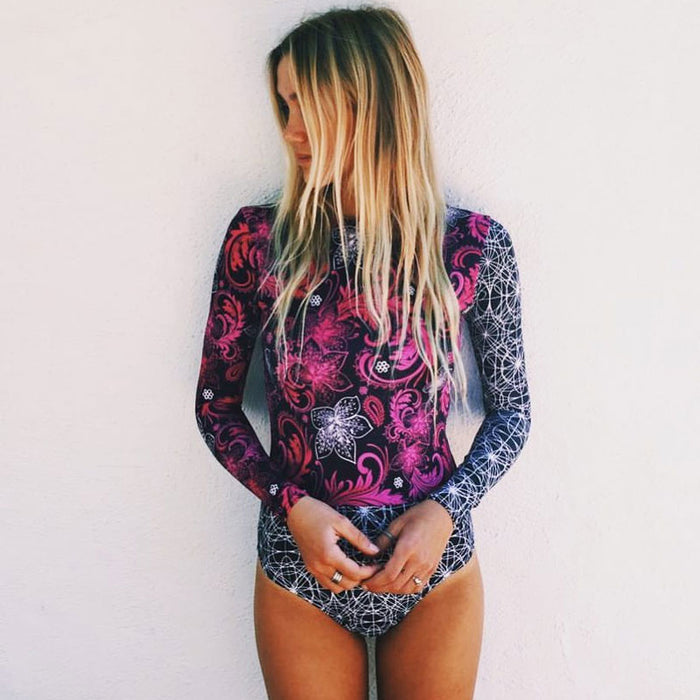 Tropical Print Long Sleeve Zip Back Rash Guard One Piece Swimsuit