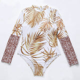 Tropical Print Long Sleeve Zip Up High Neck Rash Guard One Piece Swimsuit