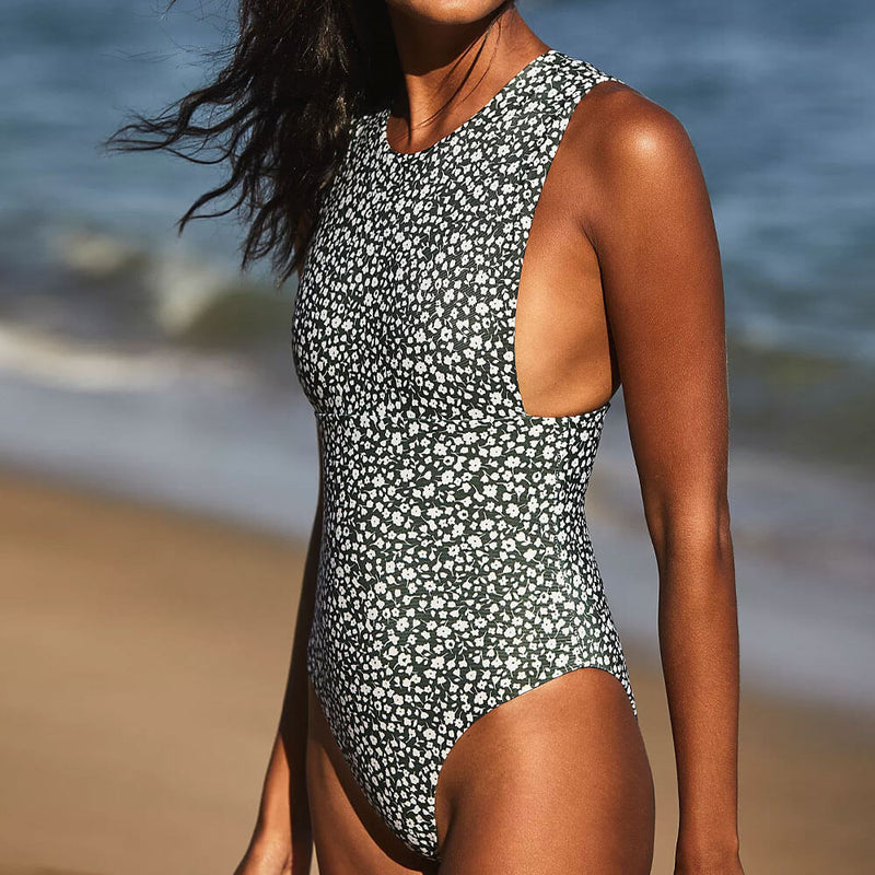 Vintage Boho Print High Neck Brazilian One Piece Swimsuit