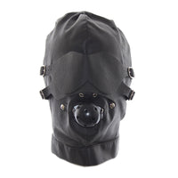 YiFeng Gimp Head Mask Hood Blindfold Bondage Black Faux Leather Fetish Kinky Play 2