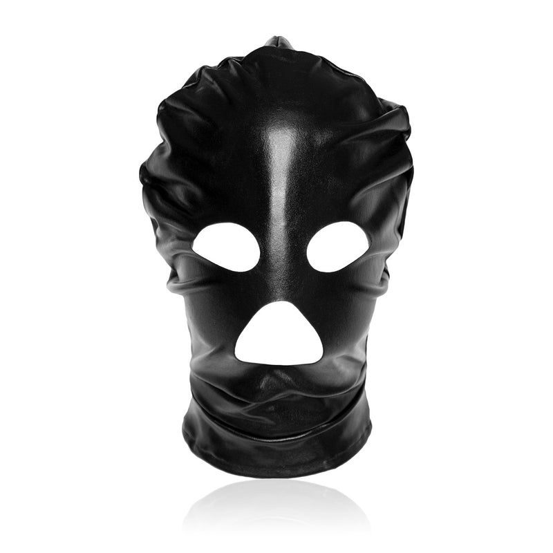 YiFeng Men Women Leather GIMP Full Mask Hood Open Eyes Mouth Stretchy Roleplay Cosplay 7