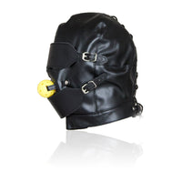YiFeng Leather Full Blindfold Mask Hood w/ Mouth Ball Gag Bondage Fetish GIMP Toy 23