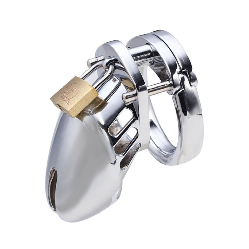 YiFeng Short Male Metal Chastity Device Stainless Steel Plated Steel Bondage Fetish Gay Slave
