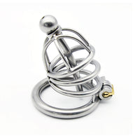 YiFeng Stainless Steel Male Chastity Cage Device Belt Urethral Tube Bondage Fetish 129