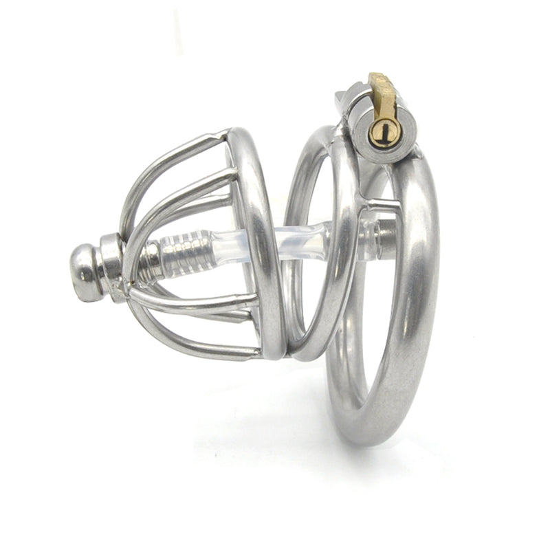 YiFeng Stainless Steel Male Chastity Cage Device Belt Urethral Tube Bondage Fetish 131