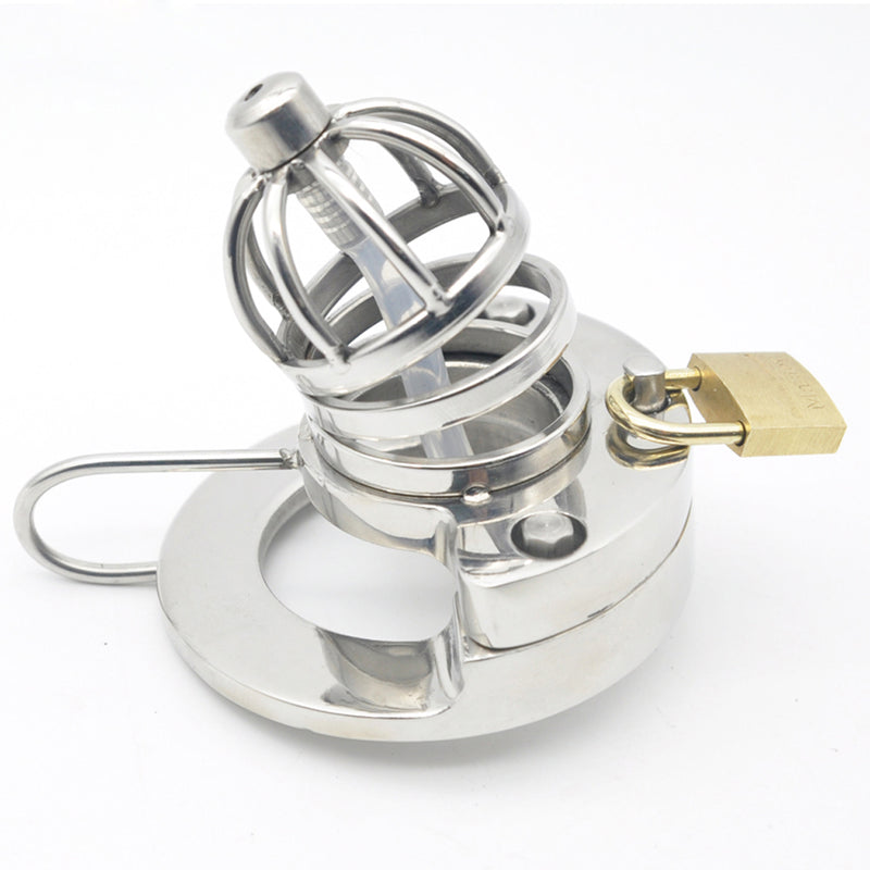 YiFeng Stainless Steel Male Chastity Cage Device Belt w/ Catheter 166