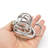 YiFeng Stainless Steel Male Chastity Cage Device Belt w/ Barbed Anti-off Ring 174