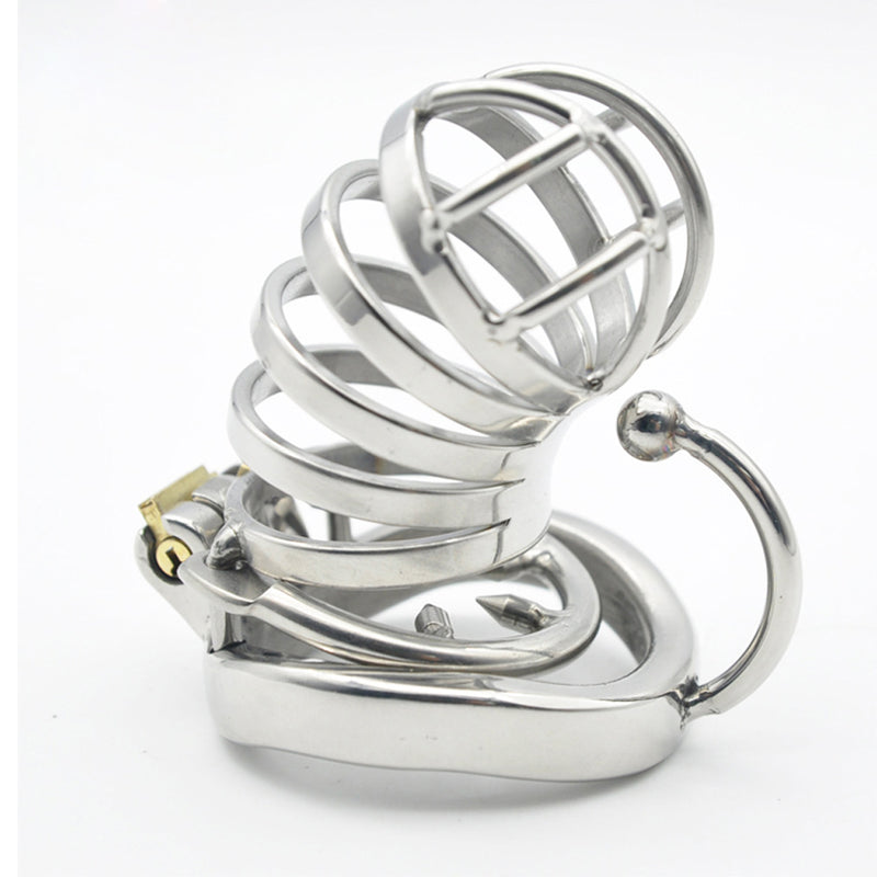 YiFeng Stainless Steel Male Chastity Cage Device Belt w/ Barbed Anti-off Ring 175