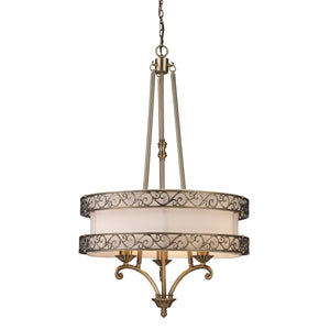 Abington 3 Light Pendelier In Antique Brass 11218/3