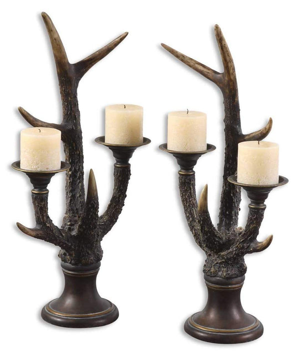 New Product  Uttermost Stag Horn Candleholder, Set/2 Sold by VaasuHomes