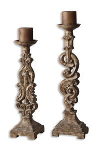 Uttermost Gia Antique Candleholders, Set/2