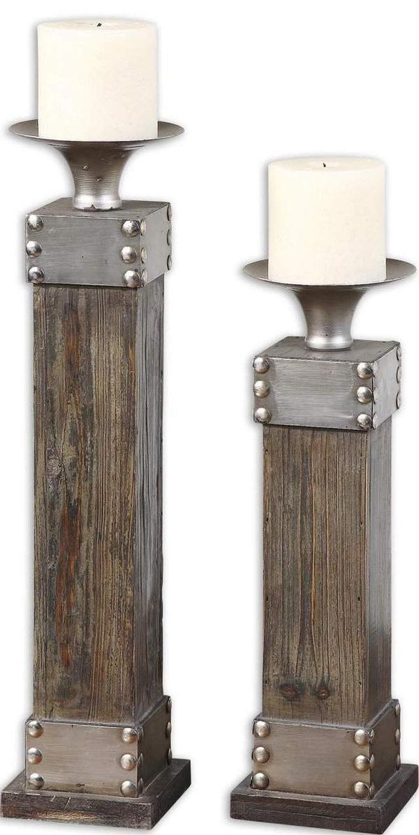New Product  Uttermost Lican Natural Wood Candleholders, Set/2 Sold by VaasuHomes