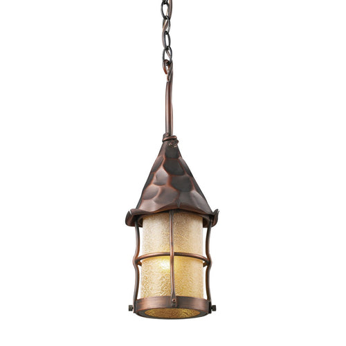 Rustica 1 Light Outdoor Pendant In Antique Copper And Amber Scavo Glass 388-AC