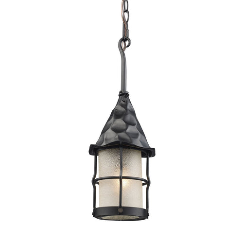Rustica 1 Light Outdoor Pendant In Matte Black And Scavo Glass 388-BK