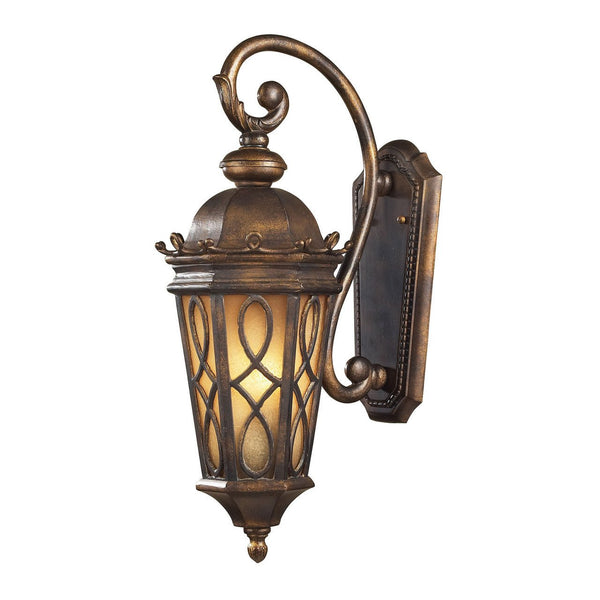 New Product ELK Lighting The Burlington Junction 2 Light Outdoor Wall Sconce In Hazlenut Bronze And  Amber Scavo Glass 42001/2 Sold By VaasuHomes - vaasuandhomes