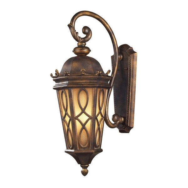 New Product ELK Lighting The Burlington Junction 3 Light Outdoor Wall Sconce In Hazlenut Bronze And  Amber Scavo Glass 42002/3 Sold By VaasuHomes - vaasuandhomes