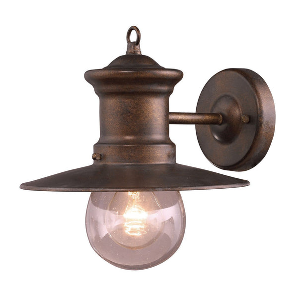 New Product ELK Lighting The Maritime 1 Light Outdoor Wall Sconce In Hazlenut Bronze 42005/1 Sold By VaasuHomes - vaasuandhomes