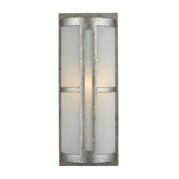 New Product ELK Lighting The Trevot 1 Light Outdoor Wall Sconce In Sunset Silver And Frosted Glass 42095/1 Sold By VaasuHomes - vaasuandhomes