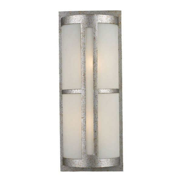 New Product ELK Lighting The Trevot 2 Light Outdoor Wall Sconce In Sunset Silver And Frosted Glass 42096/2 Sold By VaasuHomes - vaasuandhomes