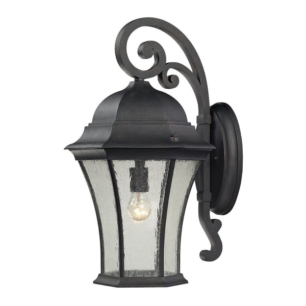 New Product ELK Lighting The Wellington Park 1 Light Outdoor Wall Sconce In Weathered Charcoal 45052/1 Sold By VaasuHomes - vaasuandhomes