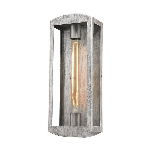 New Product ELK Lighting The Trenton 1 Light Outdoor Wall Sconce In Silvery Ash 45181/1 Sold By VaasuHomes - vaasuandhomes