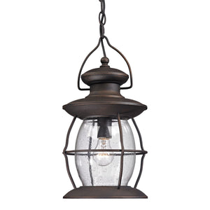 Village Lantern 1 Light Outdoor Pendant In Weathered Charcoal 47043/1
