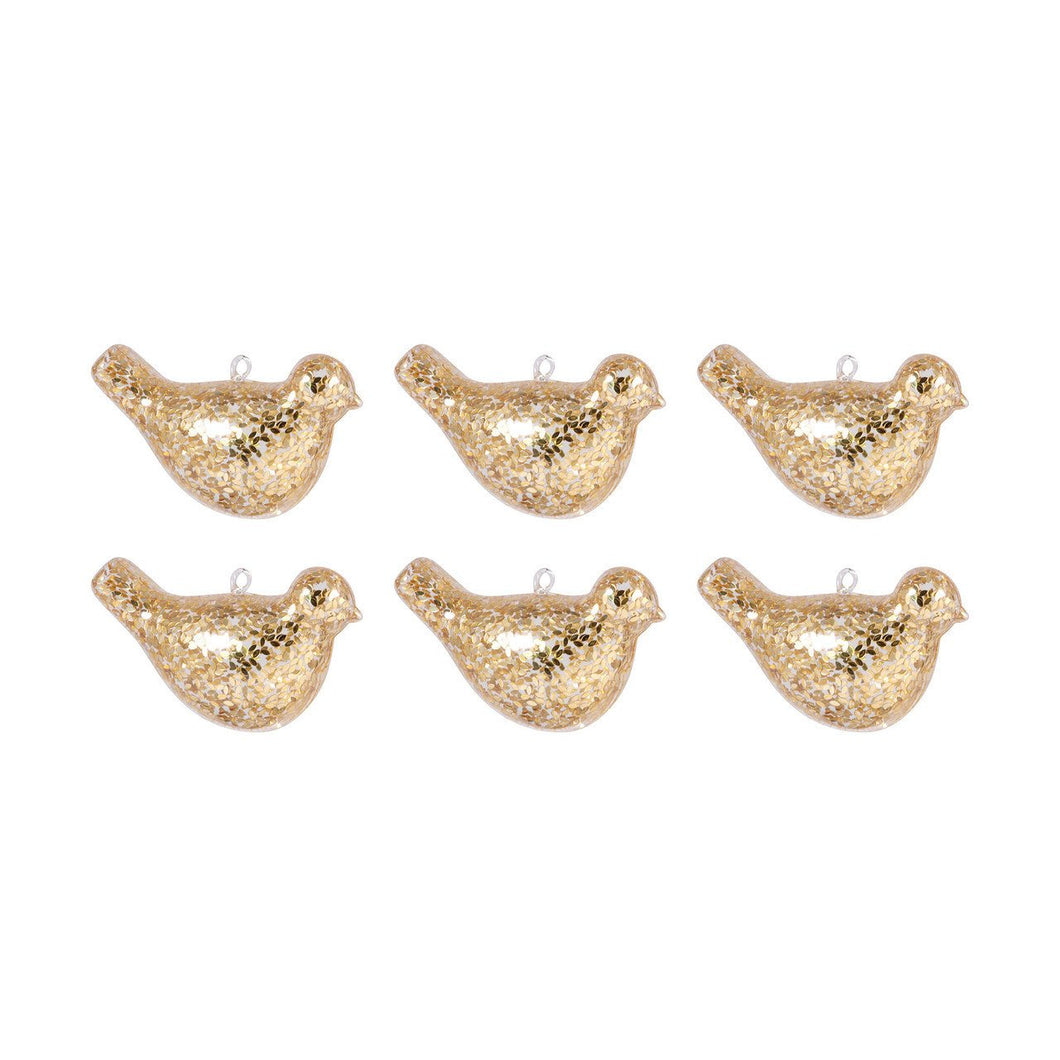 Pomeroy Bird Set of 6 Ornaments In Gold - vaasuandhomes