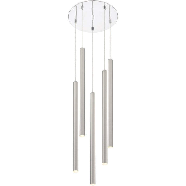 Forest 5 Light Island/Billiard in Brushed Nickel finish