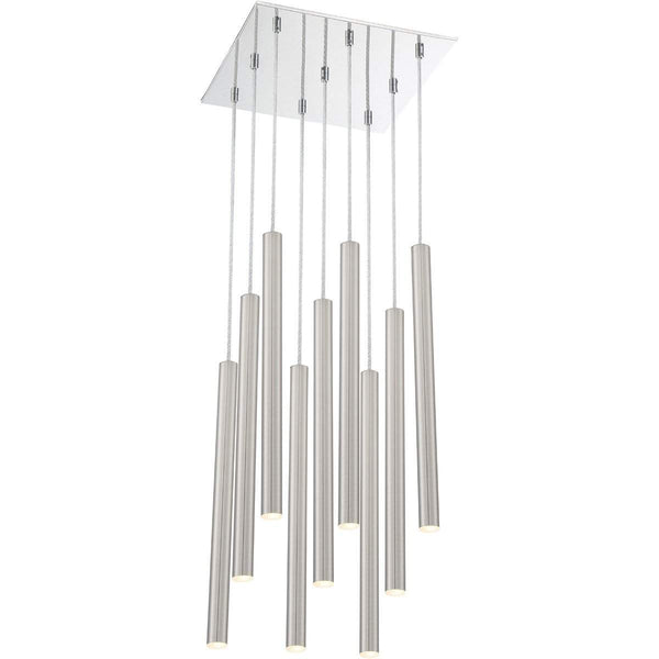 Forest 9 Light Island/Billiard in Brushed Nickel finish