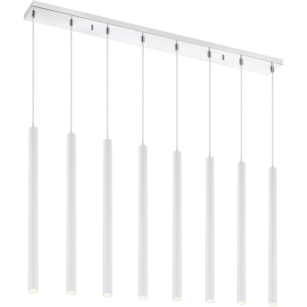 Forest 8 Light Island/Billiard in Matte White finish