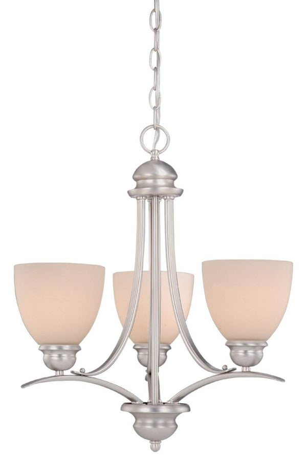 The Vaxcel Avalon 3L Mini Chandelier in Brushed Nickel Finish AL-CHU003BN