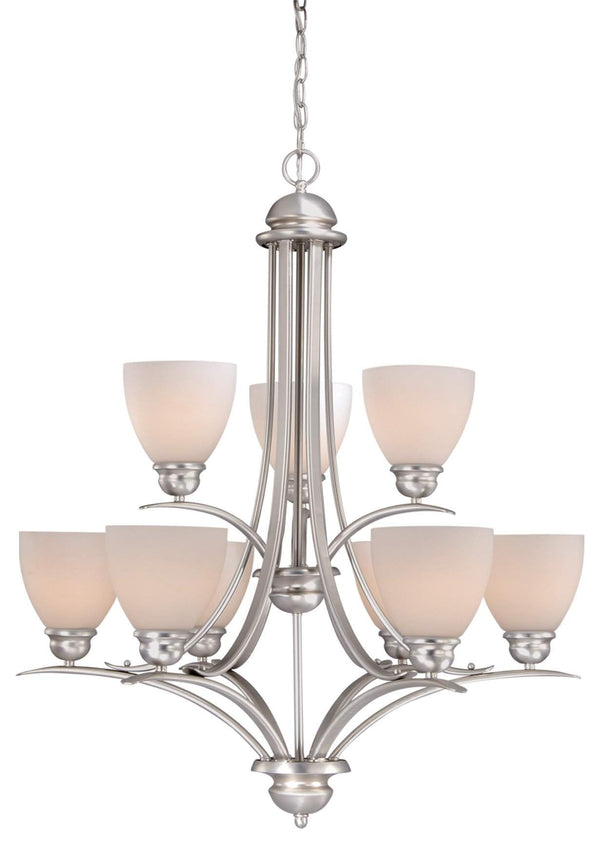 The Vaxcel Avalon 9L Chandelier in Brushed Nickel Finish AL-CHU009BN