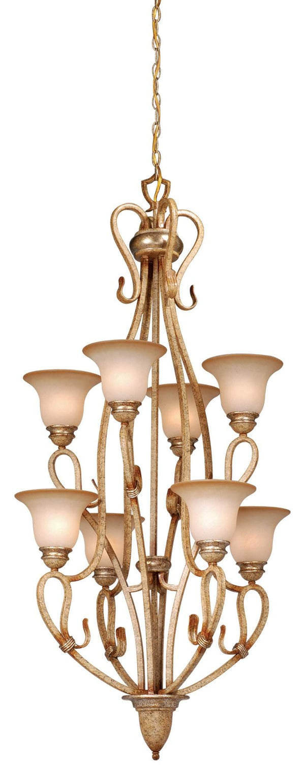 The Vaxcel Berkeley 8L Chandelier in Corinthian Patina Finish BE-CHU008CA