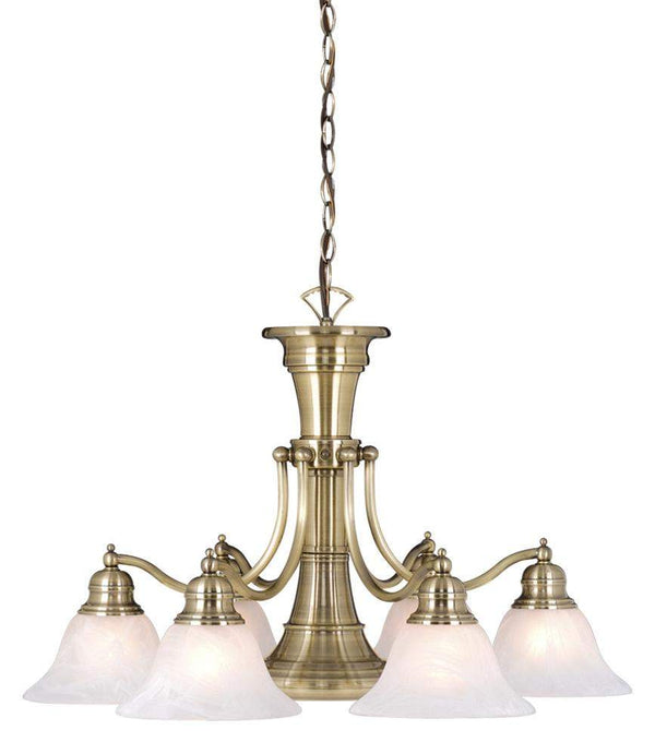 The Vaxcel Standford 7L Chandelier in Antique Brass Finish CH30307A