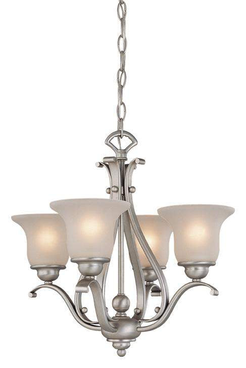 The Vaxcel Monrovia 4L Chandelier (Dual Mount) in Brushed Nickel Finish CH35404BN