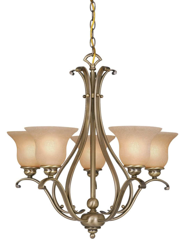 The Vaxcel Monrovia 5L Chandelier in Antique Brass Finish CH35405A/C