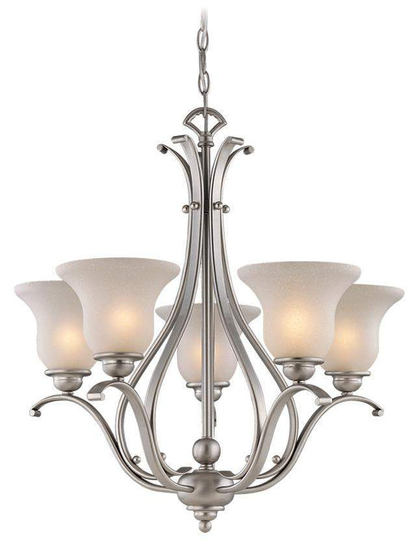 The Vaxcel Monrovia 5L Chandelier in Brushed Nickel Finish CH35405BN