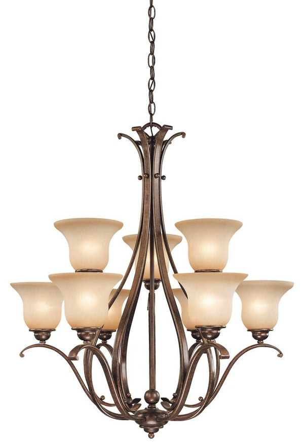 The Vaxcel Monrovia 9L Chandelier in Royal Bronze Finish CH35409RBZ/B