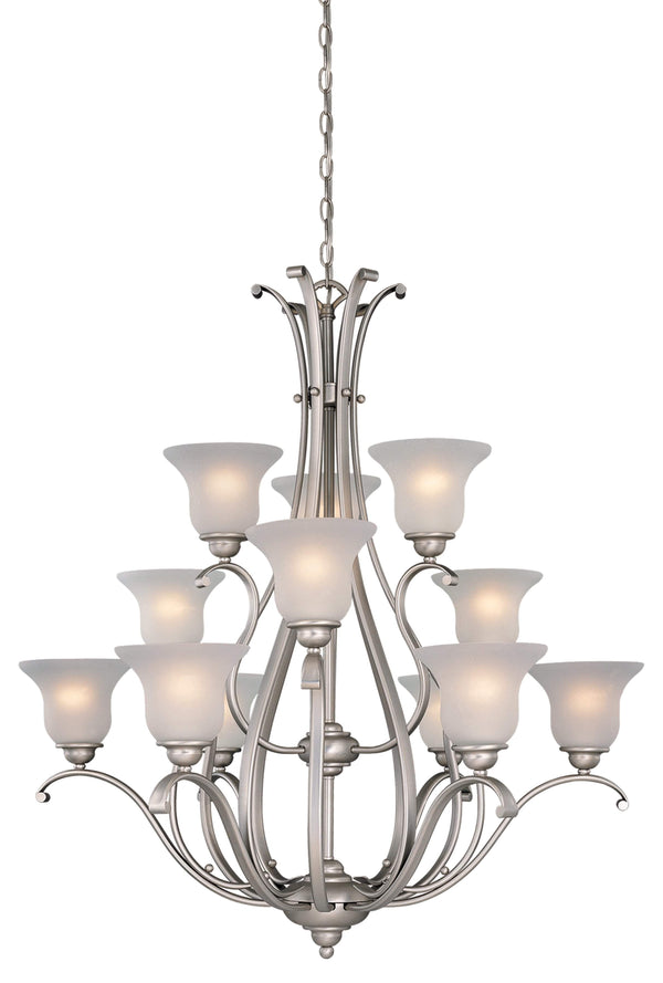 The Vaxcel Monrovia 12L Chandelier in Brushed Nickel Finish CH35412BN